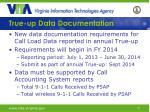 true up data documentation
