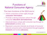 functions of national consumer agency