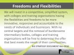 freedoms and flexibilities