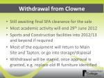 withdrawal from clowne