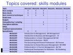 topics covered skills modules