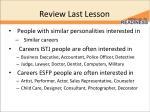 review last lesson