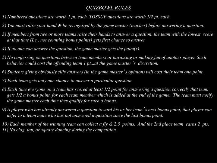 QUIZBOWL RULES