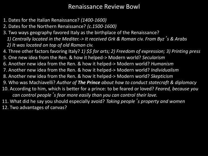 Renaissance Review Bowl