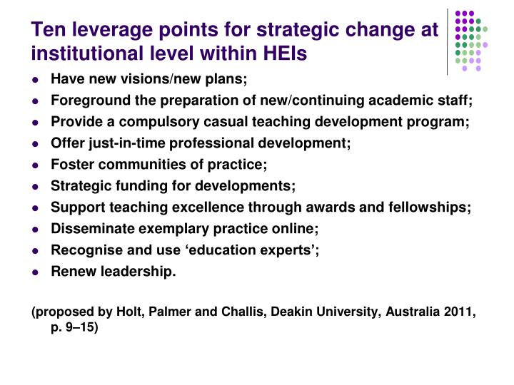 Ten leverage points for strategic change at institutional level within HEIs