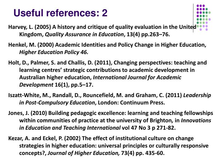 Useful references: 2