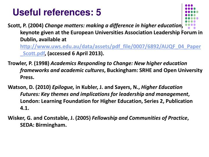 Useful references: 5