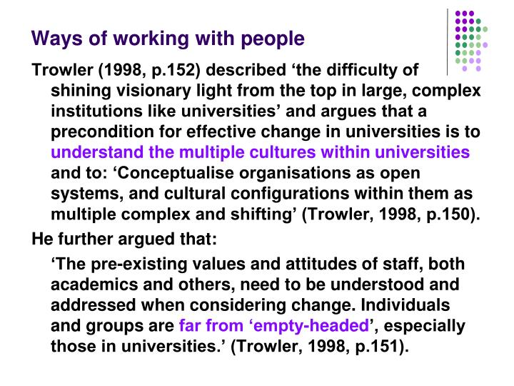 Ways of working with people