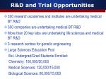 r d and trial opportunities