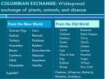 columbian exchange widespread exchange of plants animals and disease