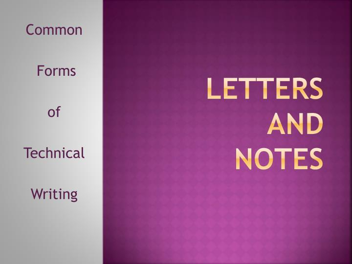 letters and notes n.