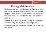during maintenance