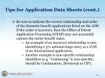 tips for application data sheets cont