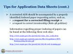 tips for application data sheets cont4