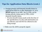 tips for application data sheets cont6
