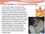 food customs at ceremonial occasions