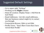suggested default settings1