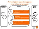 a true holistic security requires an end to end approach