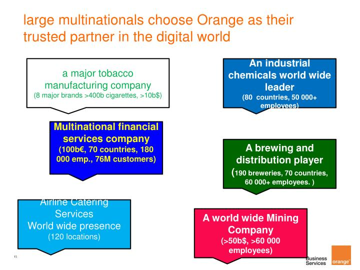 large multinationals choose Orange as their trusted partner in the digital world