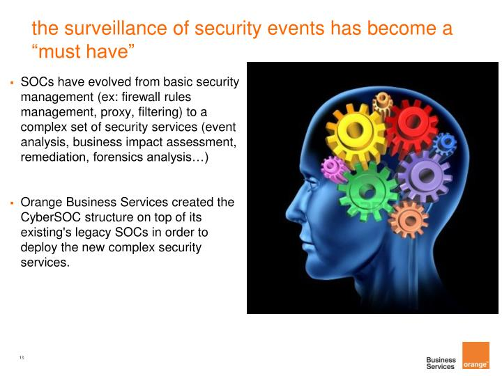 "the surveillance of security events has become a ""must have"""