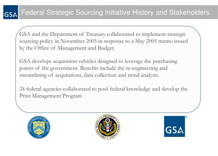 Federal Strategic Sourcing Initiative History and Stakeholders