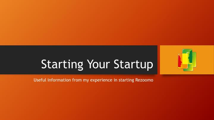 starting your startup n.