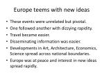 europe teems with new ideas
