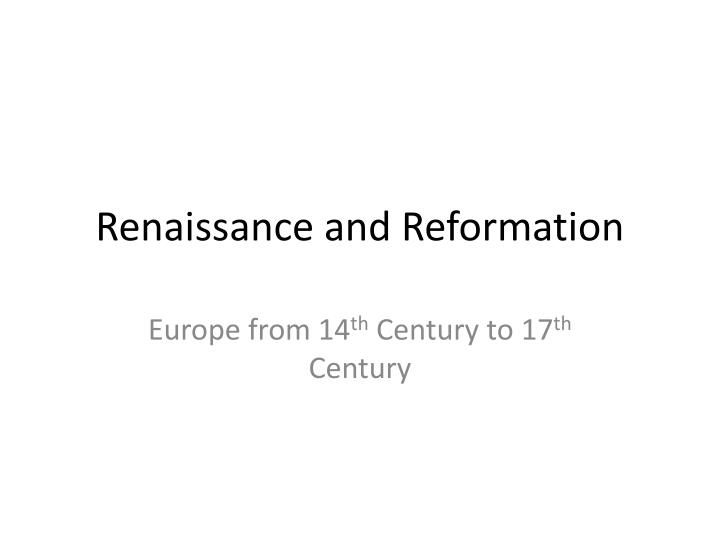 renaissance and reformation n.