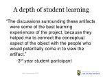 a depth of student learning