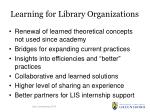learning for library organizations