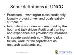 some definitions at uncg