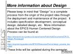 more information about design