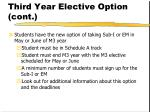 third year elective option cont