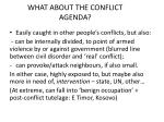 what about the conflict agenda