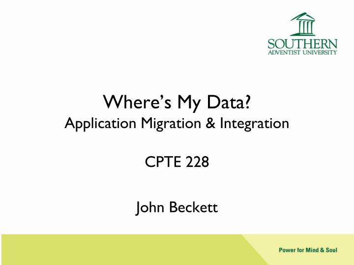 where s my data application migration integration n.