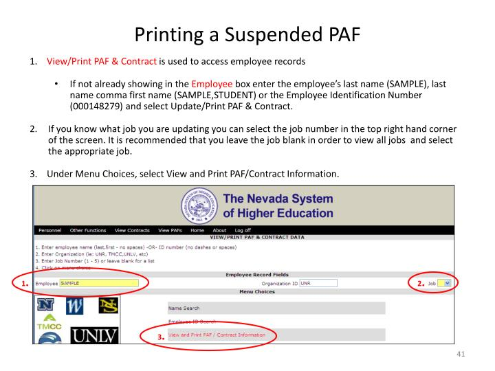 Printing a Suspended PAF