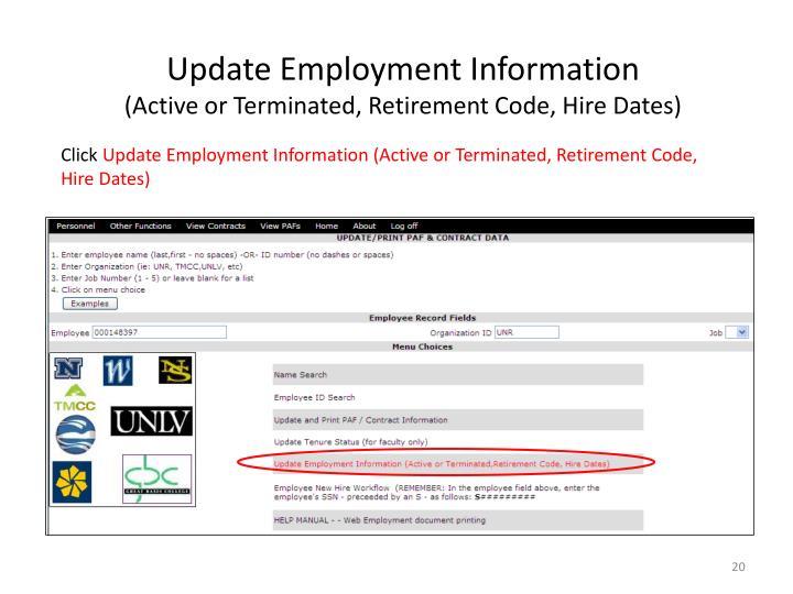 Update Employment Information