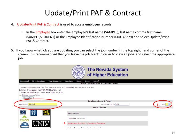 Update/Print PAF & Contract