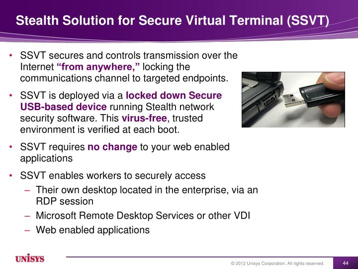 Stealth Solution for Secure Virtual Terminal (SSVT)