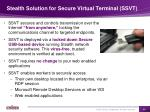 stealth solution for secure virtual terminal ssvt