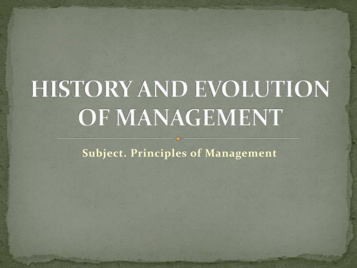history and evolution of management n.