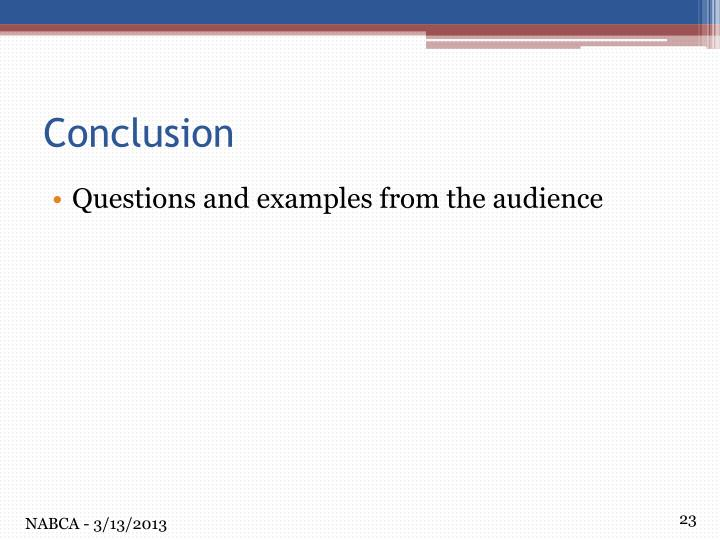 Questions and examples from