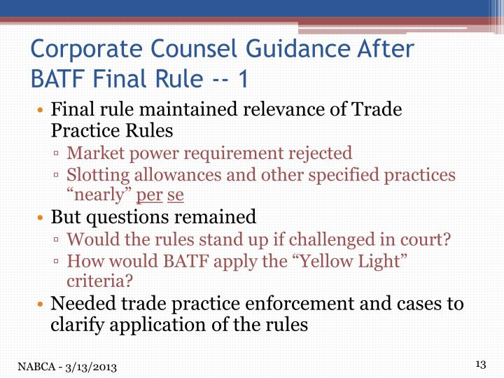 Final rule maintained relevance of Trade Practice Rules