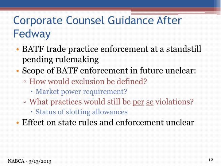 BATF trade practice enforcement at a standstill pending rulemaking