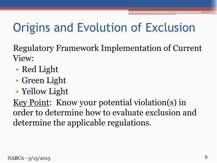 Regulatory Framework Implementation of Current View: