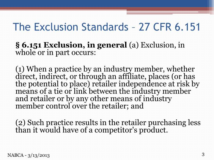 The exclusion standards 27 cfr 6 151
