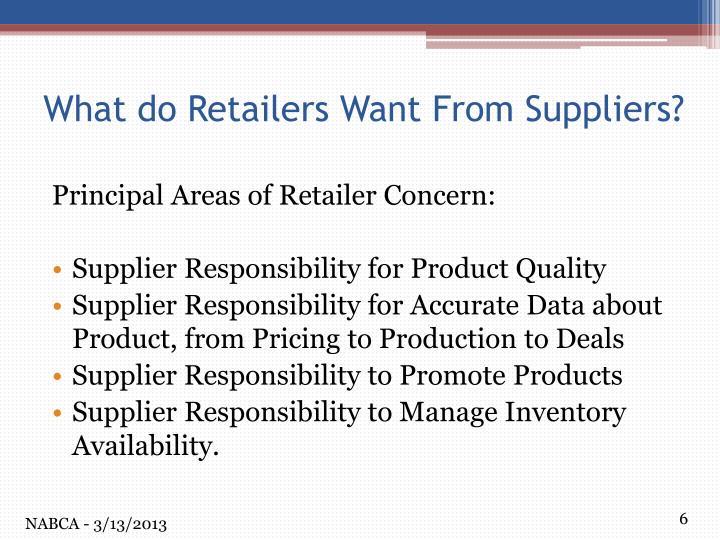 Principal Areas of Retailer Concern: