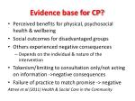evidence base for cp
