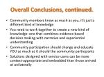 overall conclusions continued