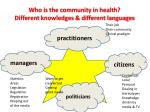 who is the community in health different knowledges different languages